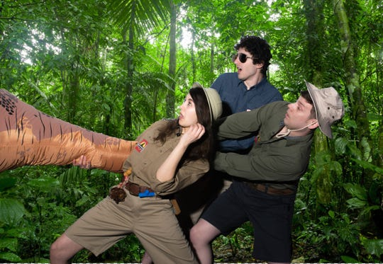 """Hold On To Your Butts"" is a one-hour parody of ""Jurassic Park"" coming to The District Theatre. The actors play multiple parts, and a sound artist with a table of props provides another layer of comedy."
