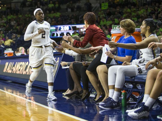 Wearable technology helps Notre Dame women's coach Muffet McGraw (in red) know when player Arike Ogunbowale (2) might need a break.