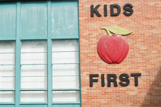 Signage on the exterior wall of McLeod Elementary in Jackson, Miss. reads, 'Kids First'. Tuesday, Feb. 26, 2019.