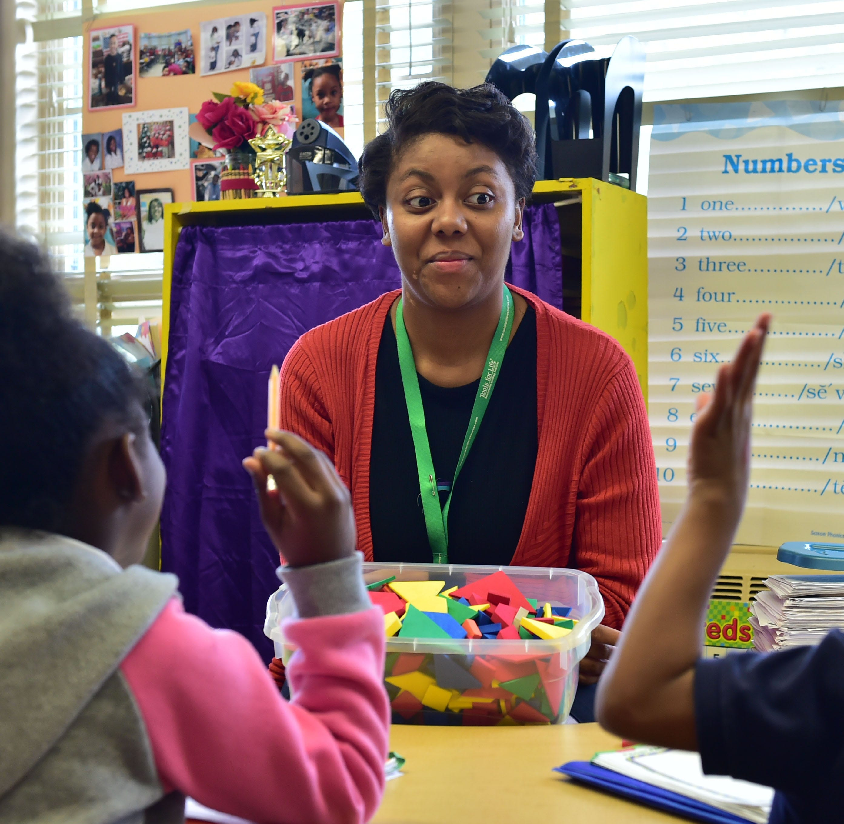 Karlee Lilley works as a teaching assistant at McLeod Elementary in Jackson, Miss. Tuesday, Feb. 26, 2019. In most states, teacher assistants make up to $26,000. In Mississippi, they bring home $18,000.
