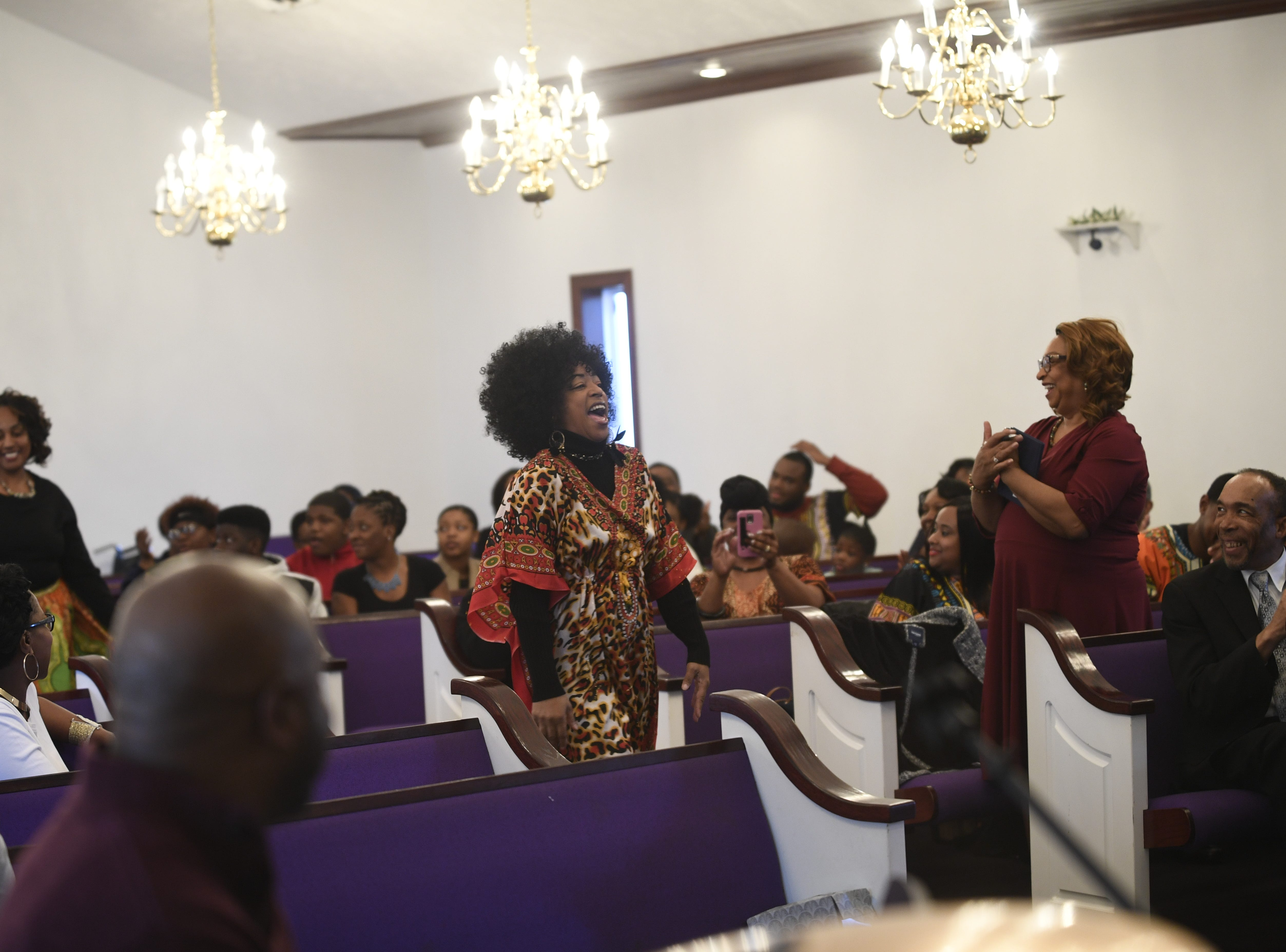 Vivan Mercer laughs as she comes on stage at Mt. Pleasant Church's Black History Month event, in Pinson, Tenn. Feb 24, 2019.