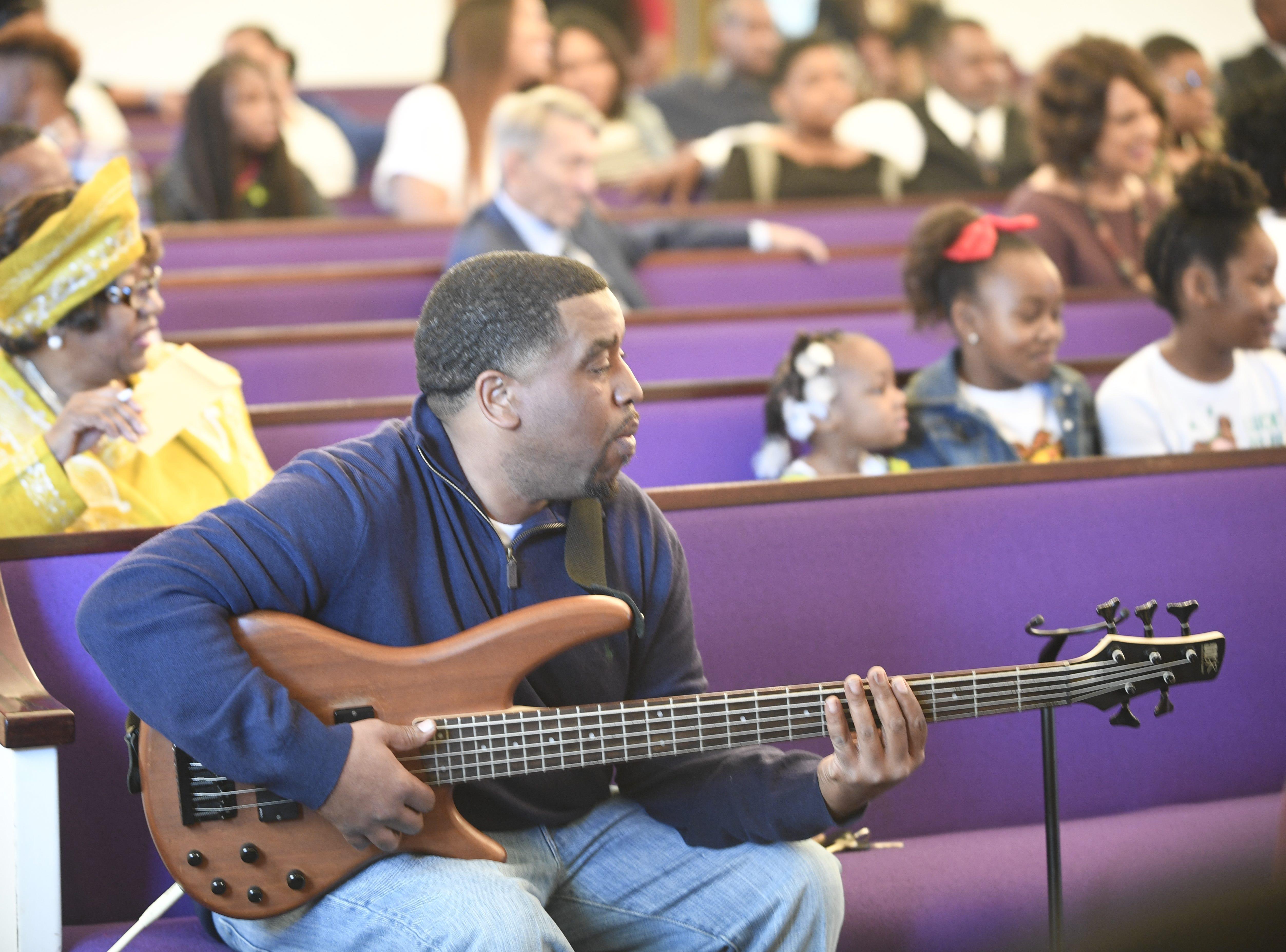 Darren Franklin plays the guitar for Mt. Pleasant Church during their Black History Month event, in Pinson, Tenn. Feb 24, 2019.