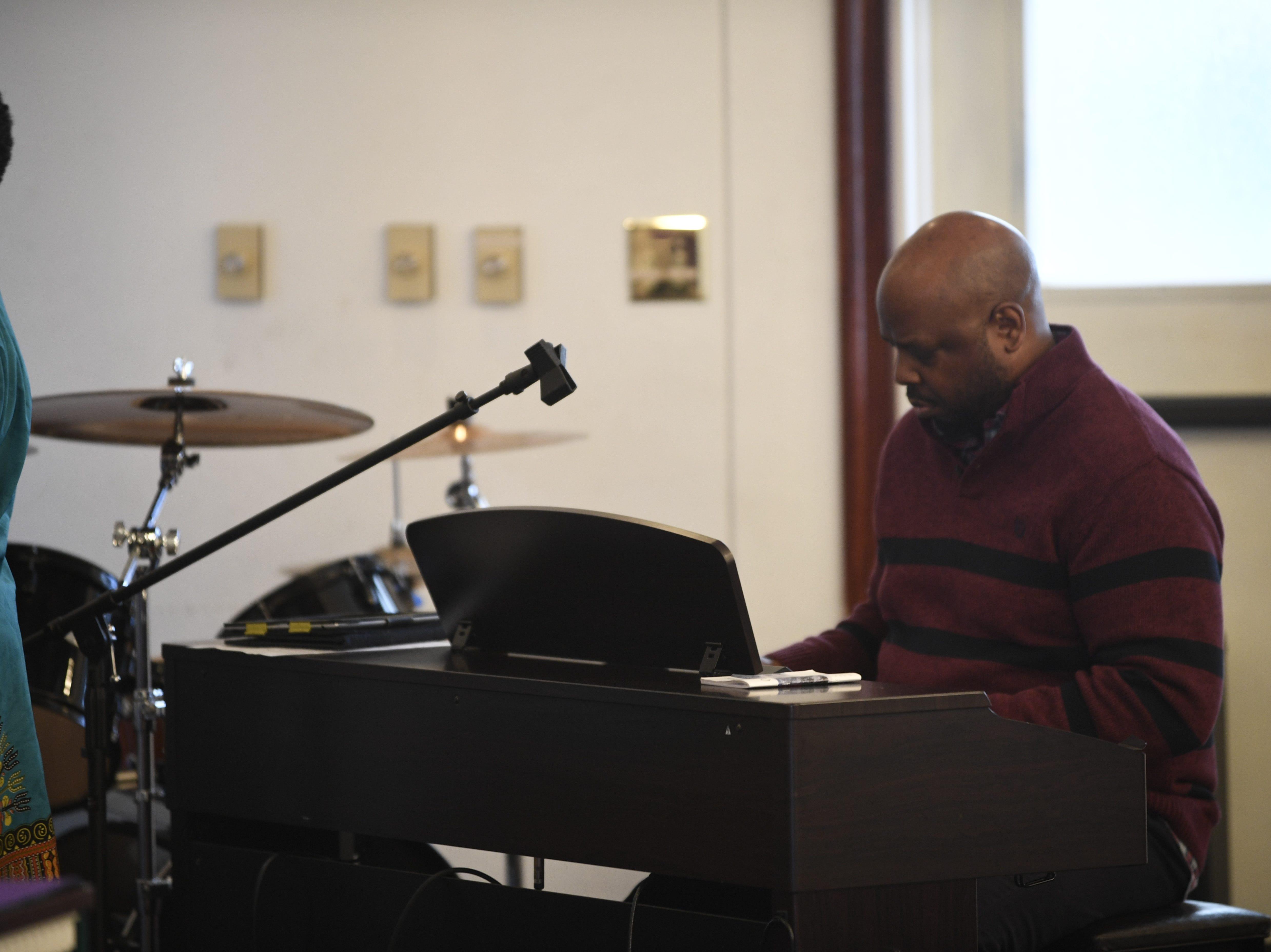 Steve Adams plays the piano during Mt. Pleasant Church's Black History Month event, in Pinson, Tenn. Feb 24, 2019.