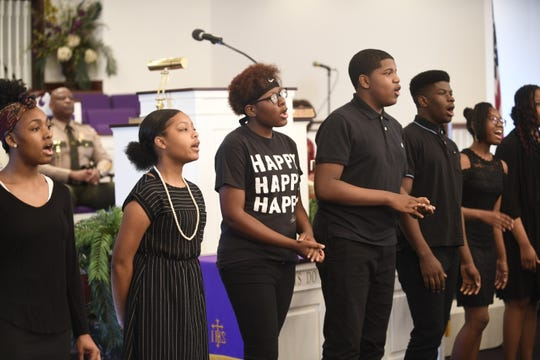 The North Parkway Middle School choir sings during Mt. Pleasant Baptist Church's Black History Month event Feb. 24, 2019, in Pinson, Tenn.