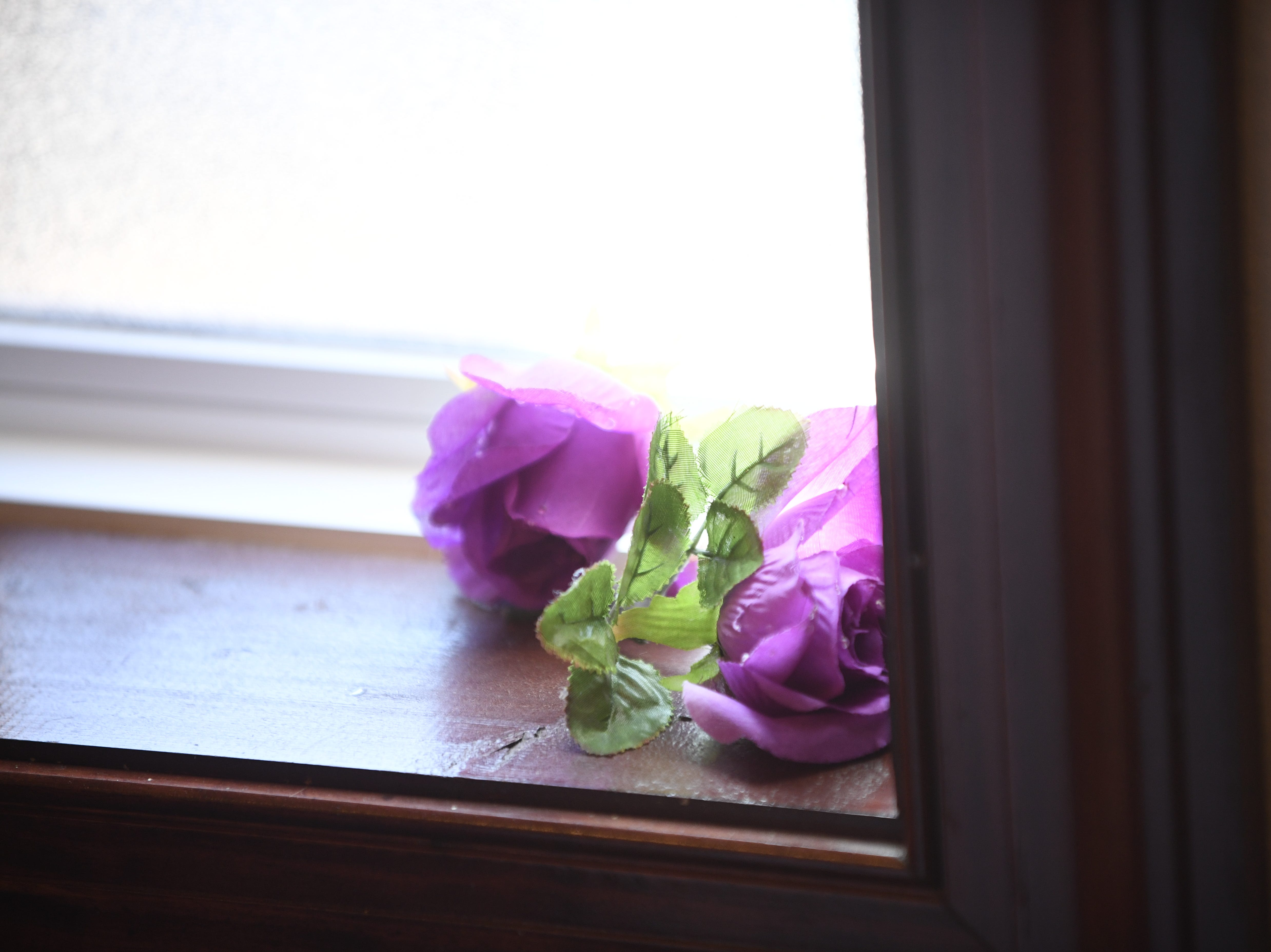 Flowers lay in the window at Mt. Pleasant Church during their Black History Month event, in Pinson, Tenn. Feb 24, 2019.