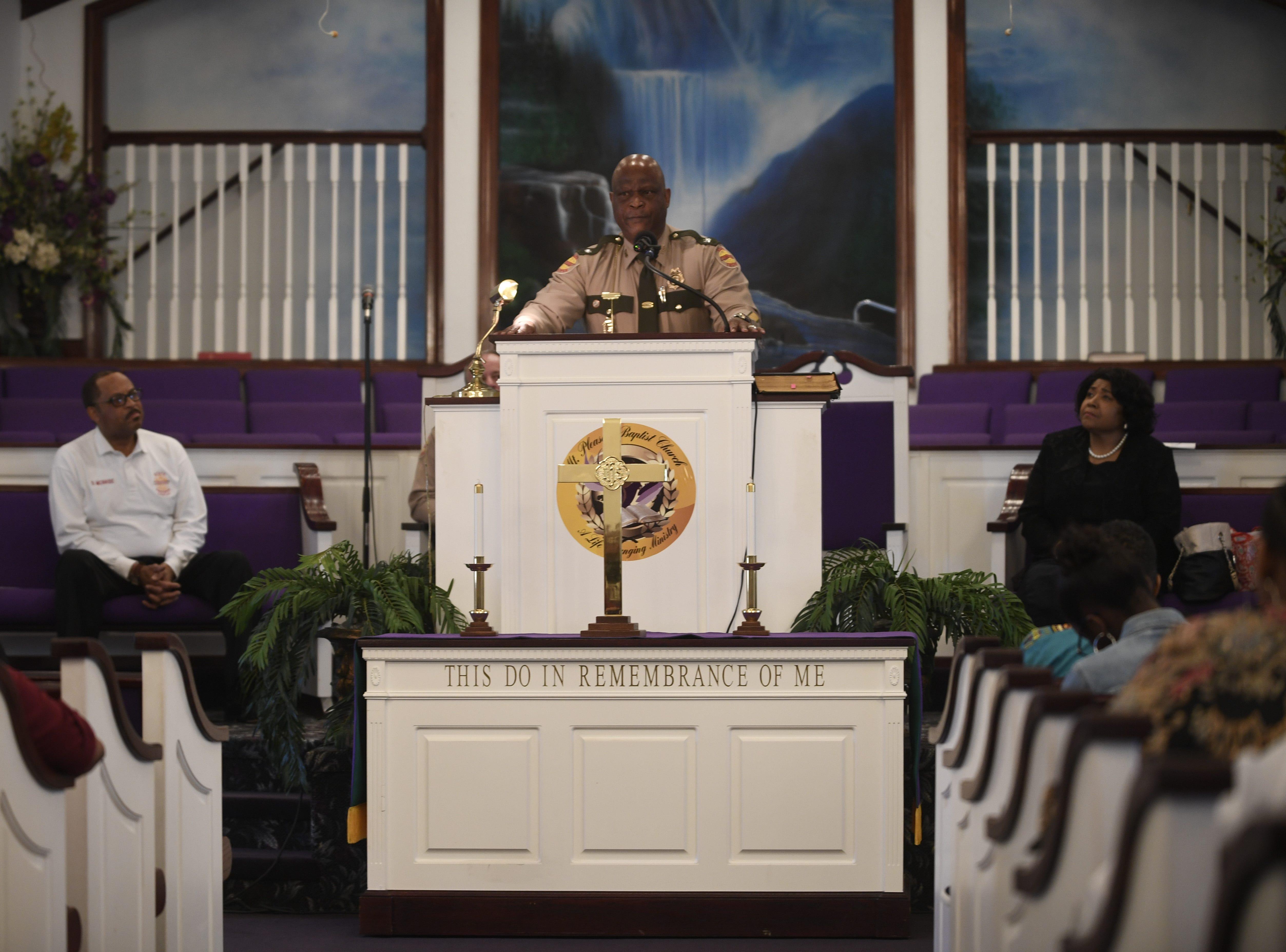 Tennessee Highway Patrol Lt. Col. Tony Barham gives the keynote speech during Mt. Pleasant Baptist Church's Black History Month event Feb. 24, 2019, in Pinson, Tenn.