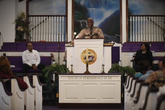 Tennessee Highway Patrol Lt. Col. Tony Barham gives the keynote speech during Mt. Pleasant Baptist Church's Black History Month event Feb. 24, 2019, in Pinson, Tenn.