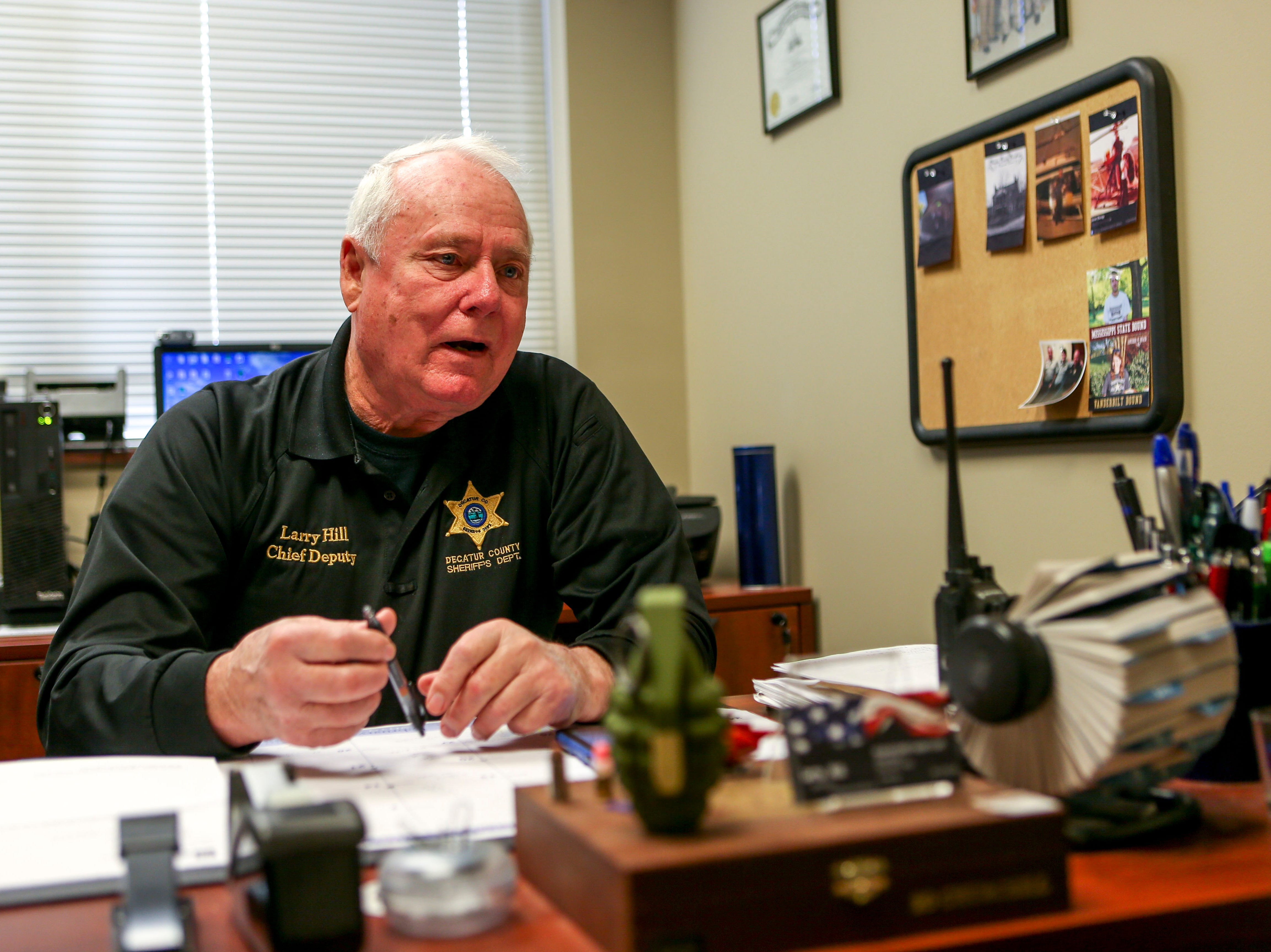 Chief Deputy Larry Hill of Decatur County Sheriffs Department speaks with a Jackson Sun reporter at Decatur County Sheriff's Office, in Decaturville, Tenn., on Monday, Feb. 25, 2019.