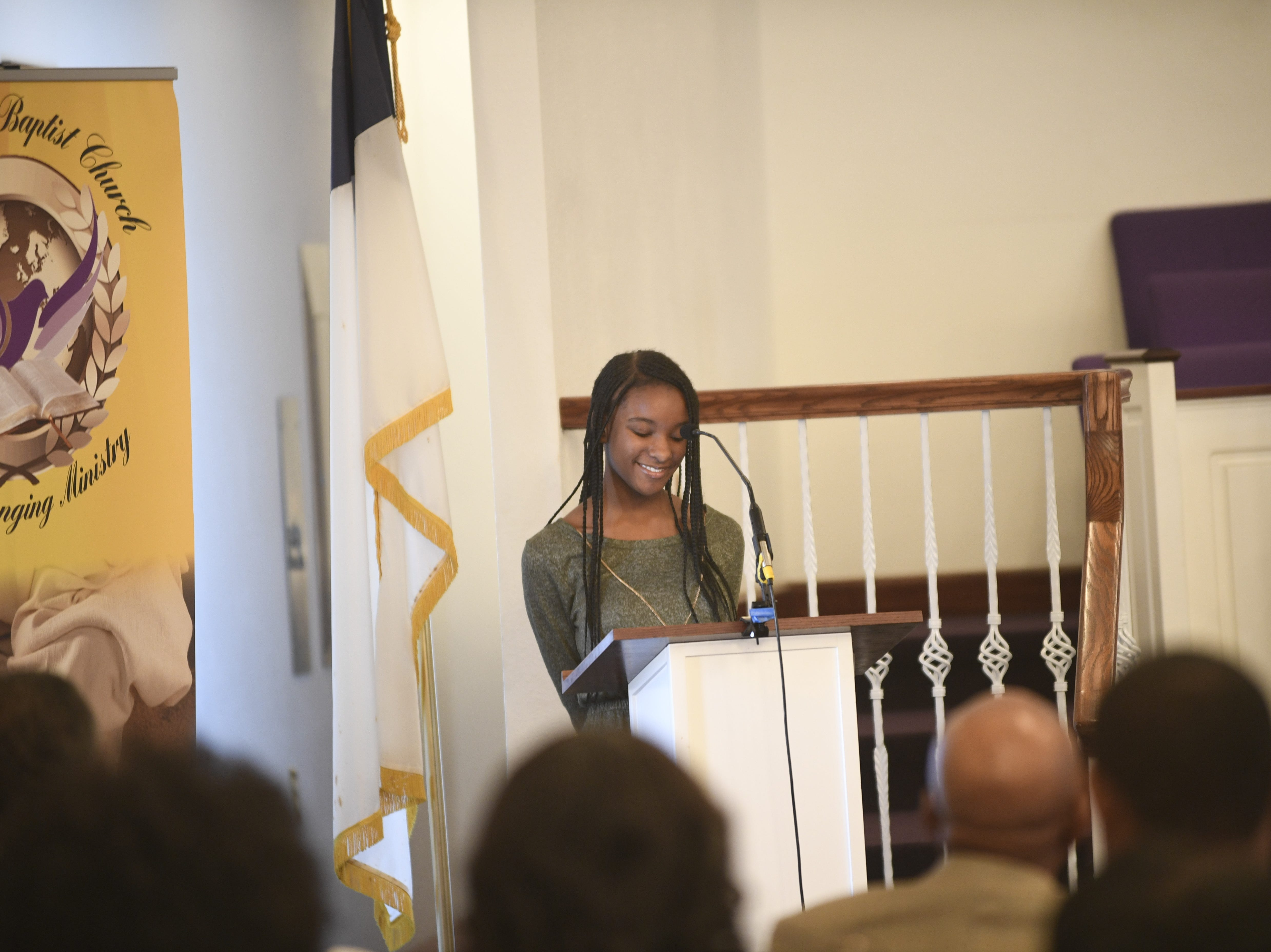 Jaliah Anderson addresses the crowd during Mt. Pleasant Church's Black History Month event, in Pinson, Tenn. Feb 24, 2019.