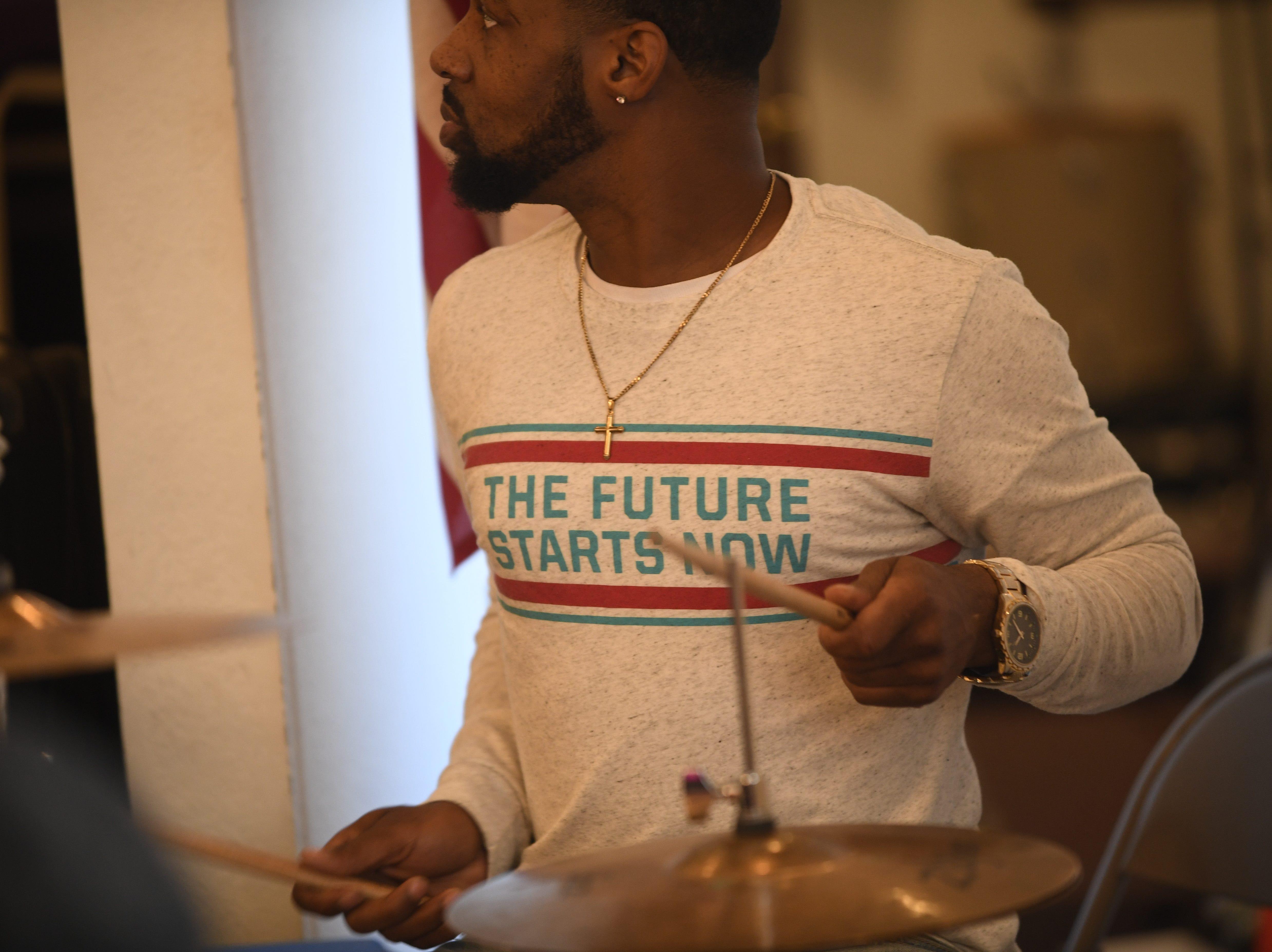 Davaris Anderson plays the drums Mt. Pleasant Church's Black History Month event, in Pinson, Tenn. Feb 24, 2019.