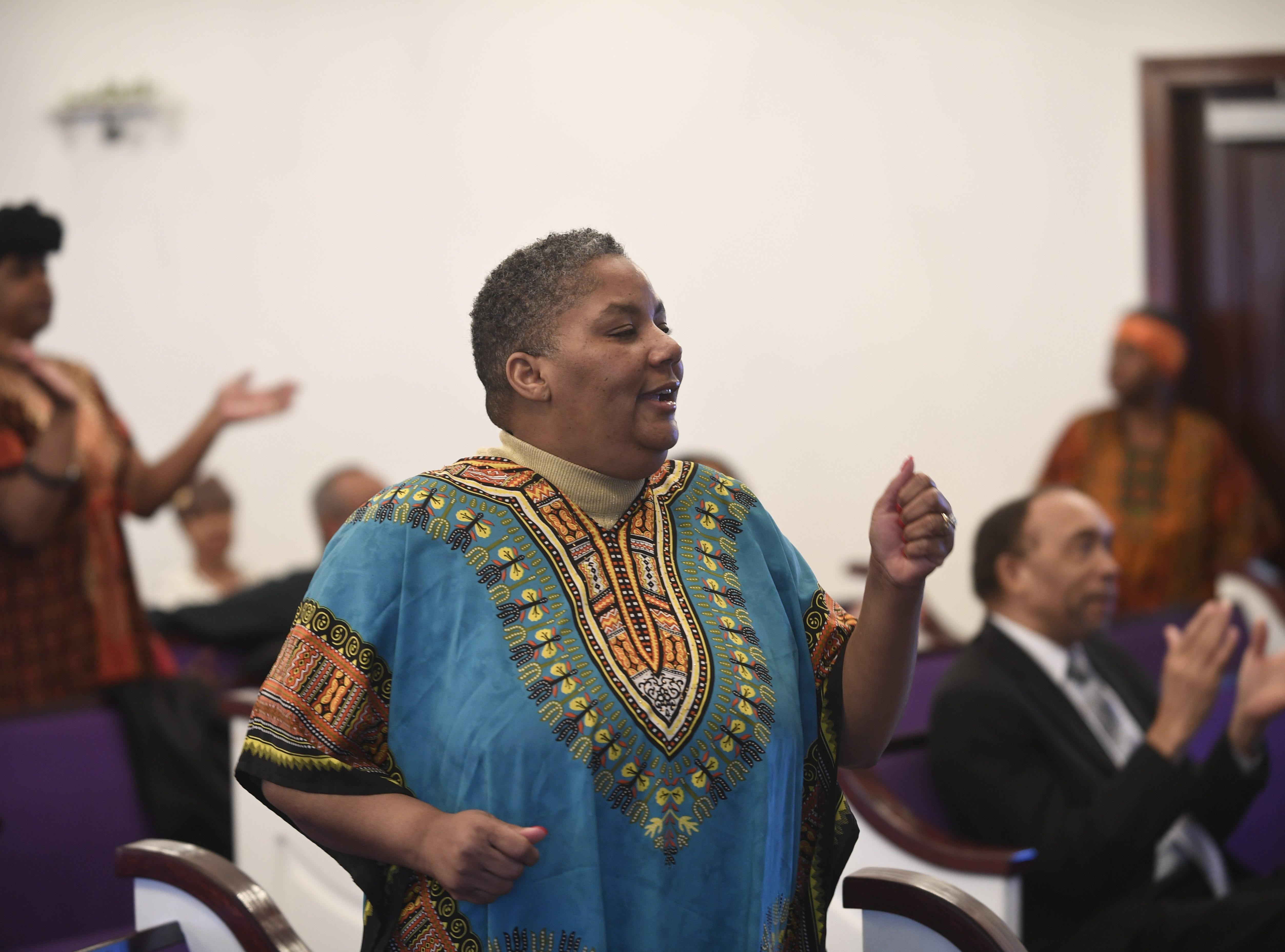 Kathy Anderson dances during Mt. Pleasant Church's Black History Month event, in Pinson, Tenn. Feb 24, 2019.