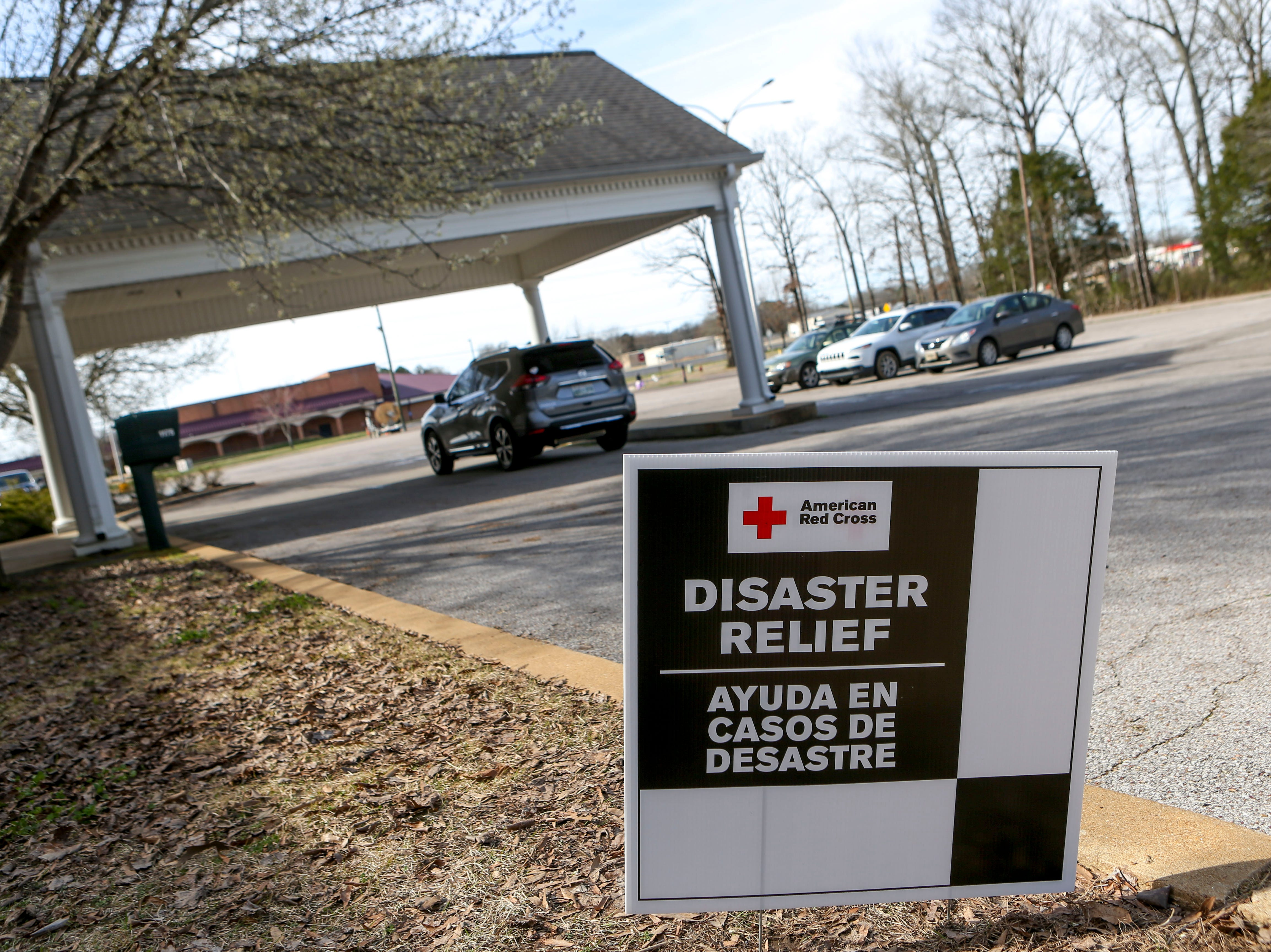 A Red Cross shelter is established at Savannah Church of Christ, in Savannah, Tenn., on Monday, Feb. 25, 2019.