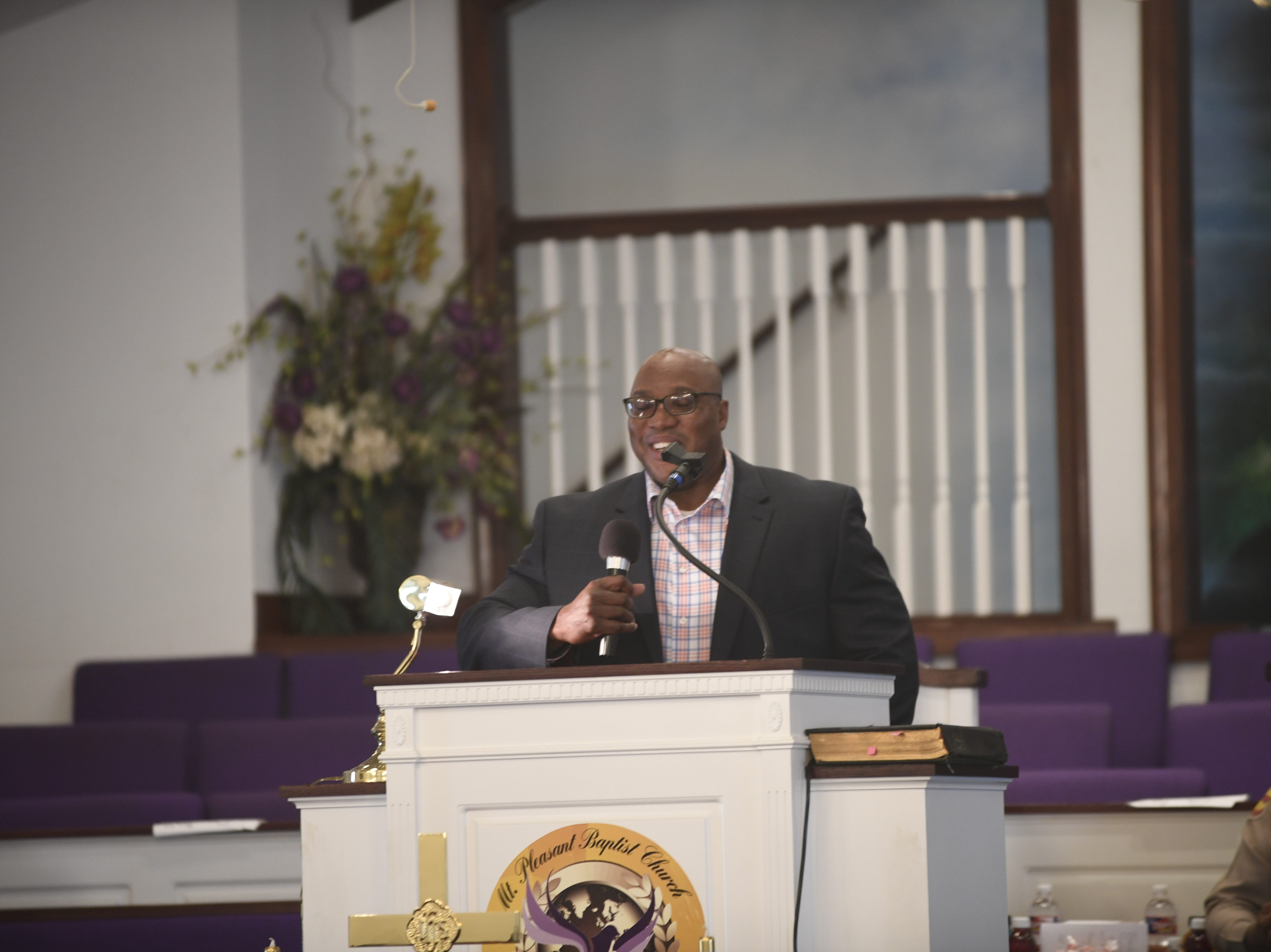 Tennessee Highway Patrol Lt. William Futrell addresses the crowd during Mt. Pleasant Baptist Church's Black History Month event Feb. 24, 2019, in Pinson, Tenn.