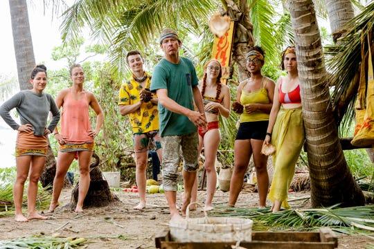 "From left are Kama tribe members Julie Rosenberg, Aurora McCreary, Gavin Whitson, Ron Clark, Victoria Baamonde, Julia Carter and Aubry Bracco on ""Survivor: Edge of Extinction."""