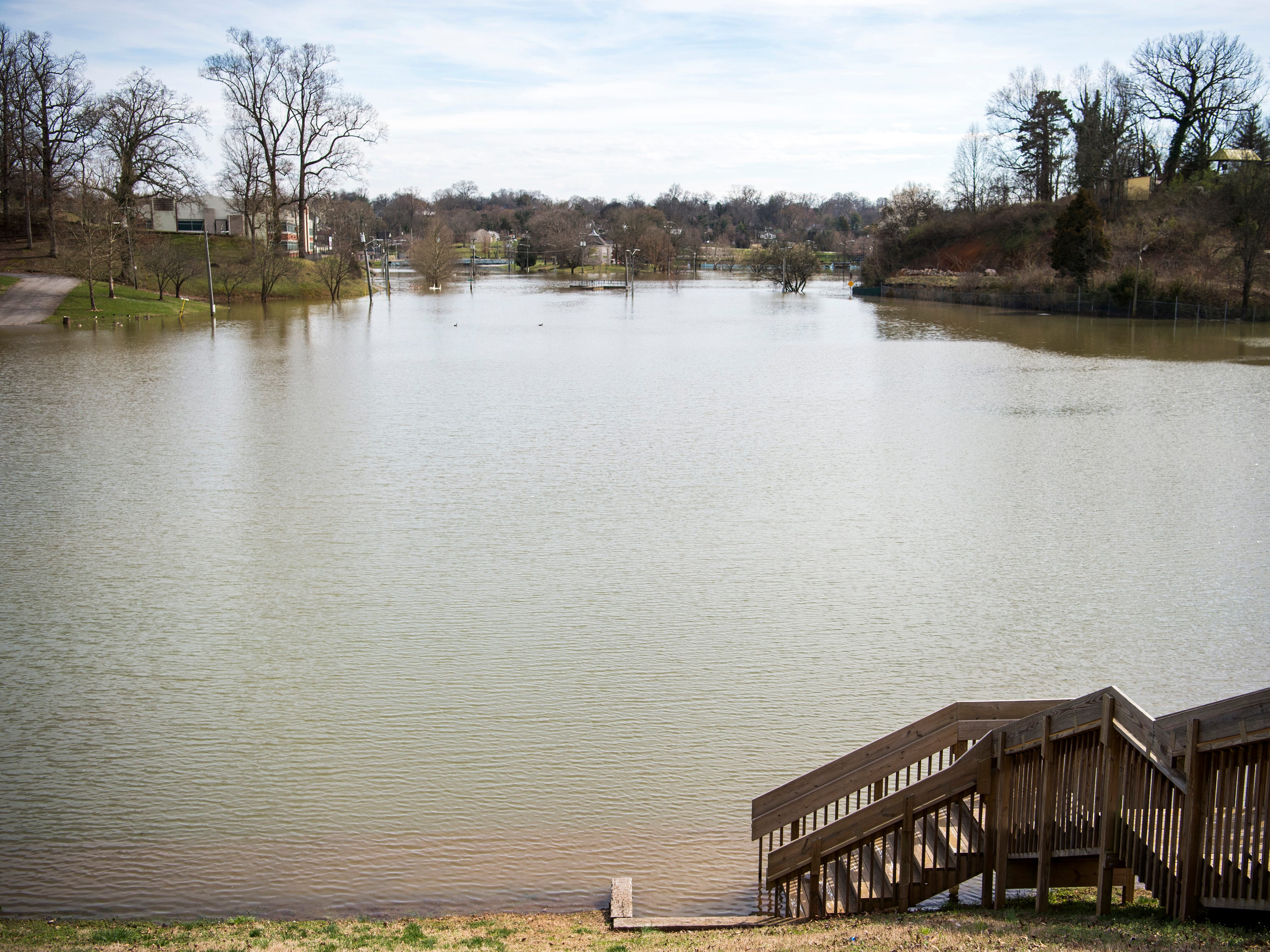 Water continues to flood Chilhowee Park in Knoxville on Tuesday, February 26, 2019.