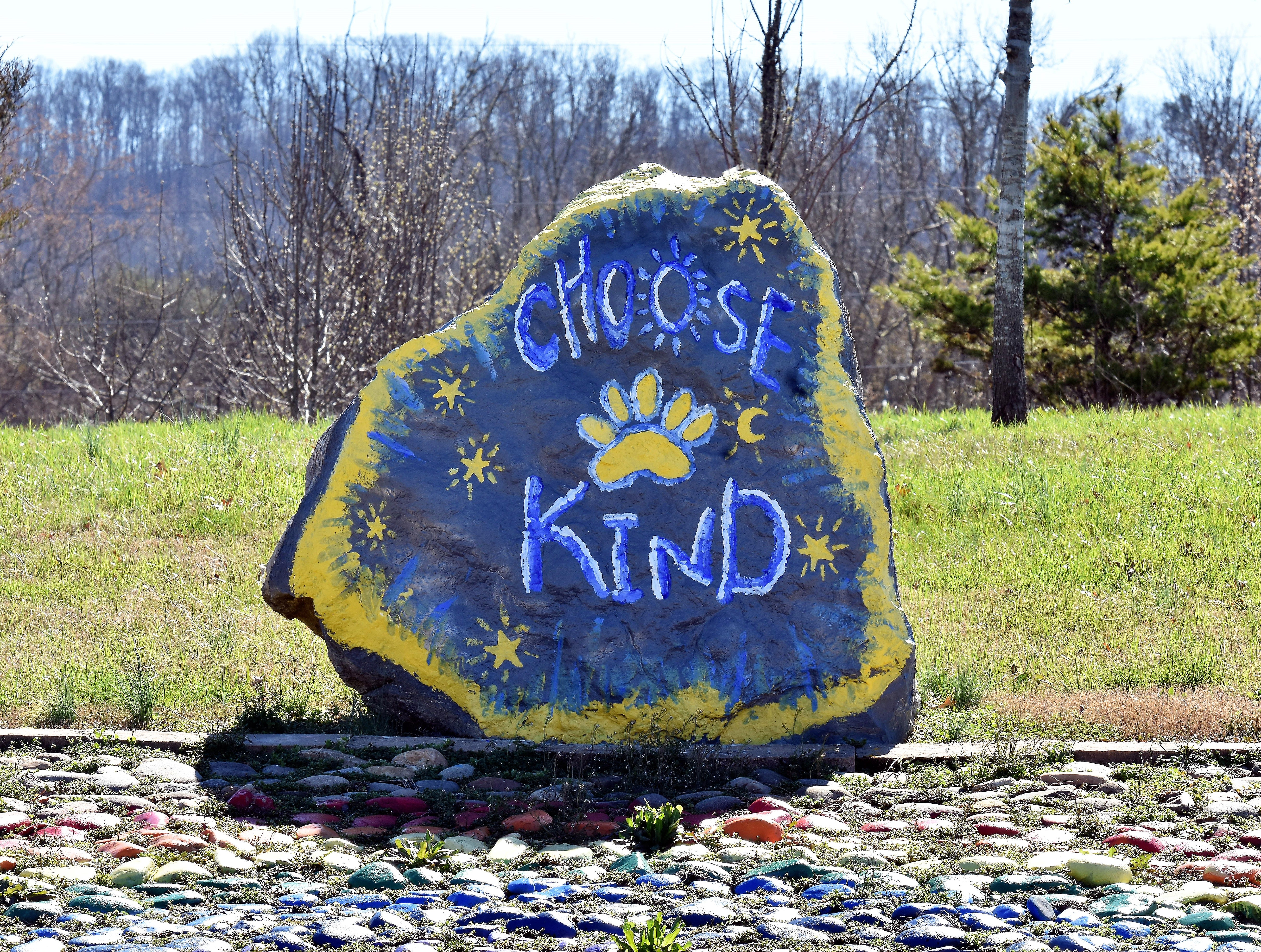 This huge rock on the campus of Brickey-McCloud Elementary reminds parents and students in the school's drop off/pick up line to choose kindness.