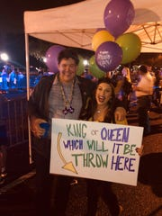 James and Elizabeth Rourk of Lafayette found out their baby is a girl with a Mardi Gras gender reveal party, and pink beads thrown from float No. 13 in the Krewe of Carnivale en Rio parade revealed the surprise Saturday night.