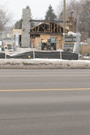 Work on a Single Barrel Social, a new restaurant and dance hall coming to the former Border Cantina restaurant in Brighton, shown Wednesday, Feb. 20, 2019, is underway. Water main work will result in lane closures and traffic shifts on a busy stretch of Grand River Ave.
