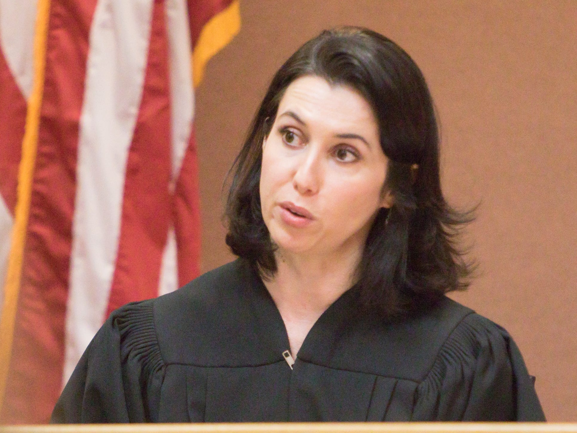 District Court Judge Shauna Murphy, shown Tuesday, Feb. 26, 2019, presides over the sentencing of Crystan Medina.