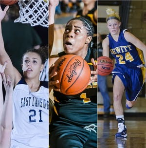 East Lansing's Klarissa Bell (left), Waverly's Victoria Milton (middle) and DeWitt's Dena Droste have been among the Lansing area's girls basketball standouts in the 2010s.