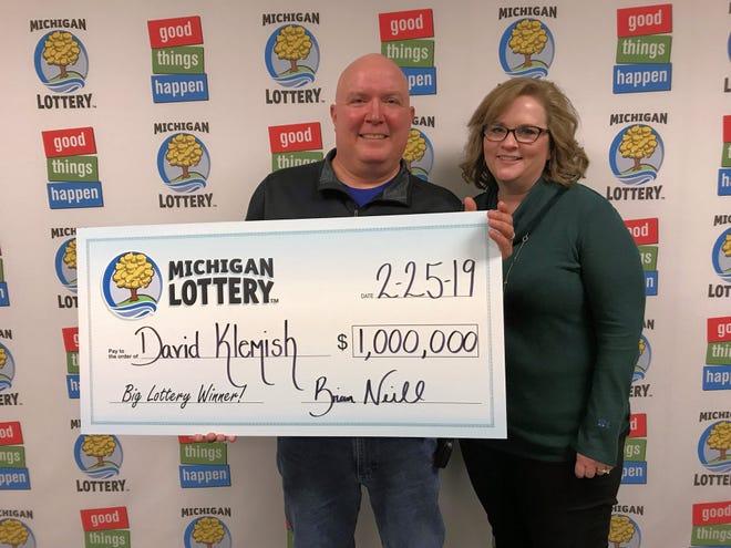 David and Audra Klemish won the $1 million Mega Millions lottery prize in Grand Ledge on Feb. 22.