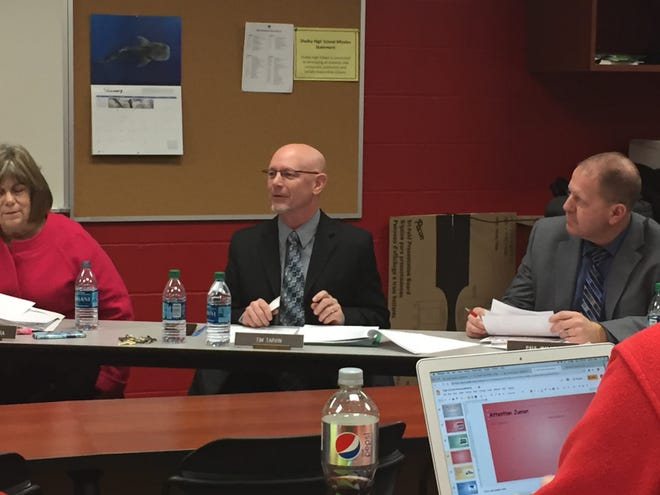 Shelby Superintendent Tim Tarvin makes a point at a previous school board meeting.