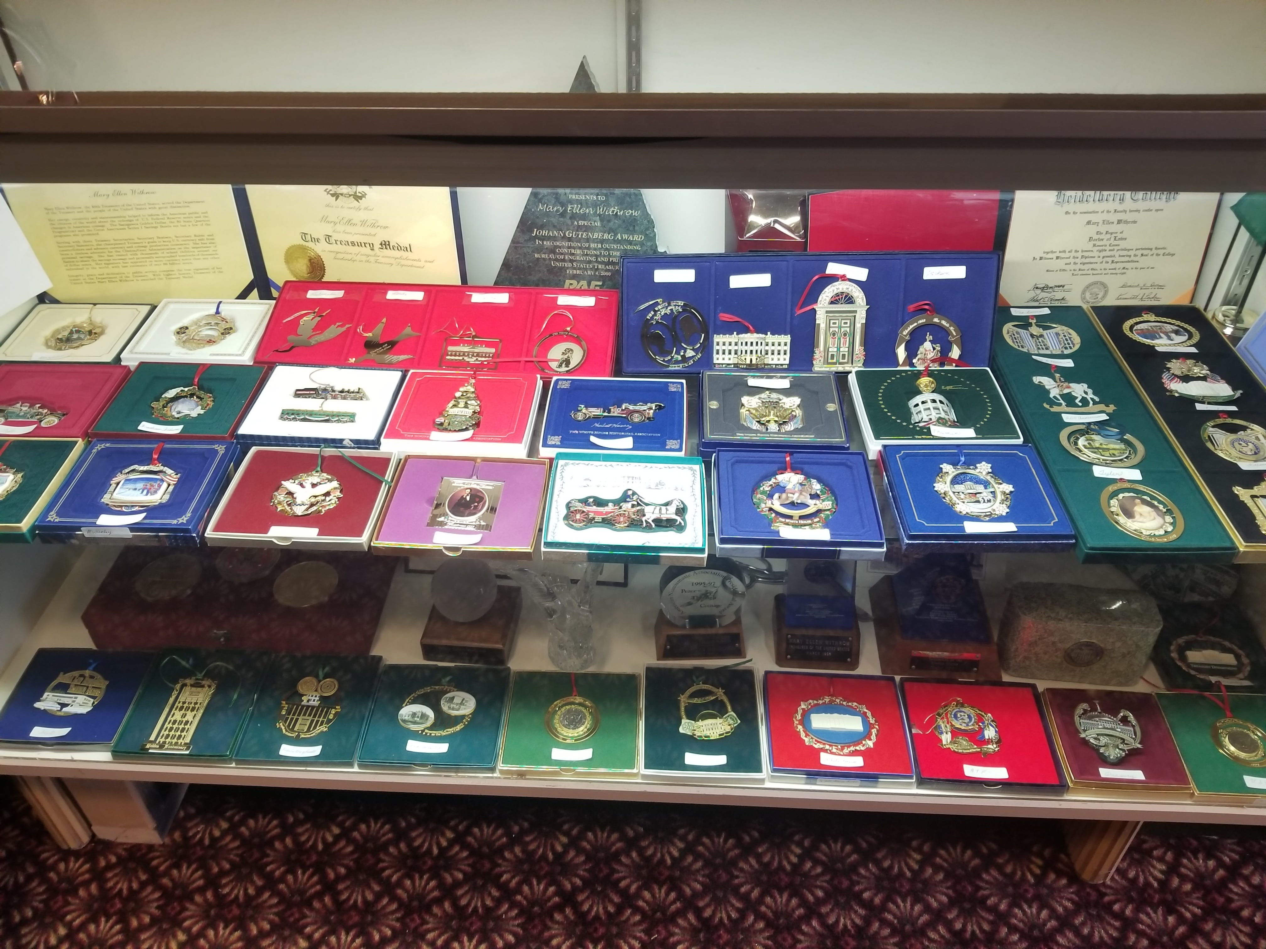More than three decades of US Treasury Christmas ornaments are on display at the Mary Ellen Withrow museum at Primrose of Marion. The museum is open to the public by appointment.