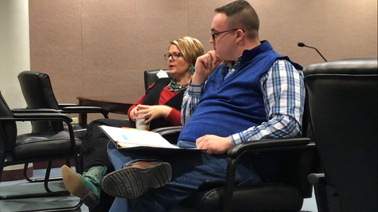 Amanda Watts and Jesse Schrake describe the crash that changed their lives at a session of Marion County Family Court's Saving Teen Lives program for teenagers who commit traffic violations.
