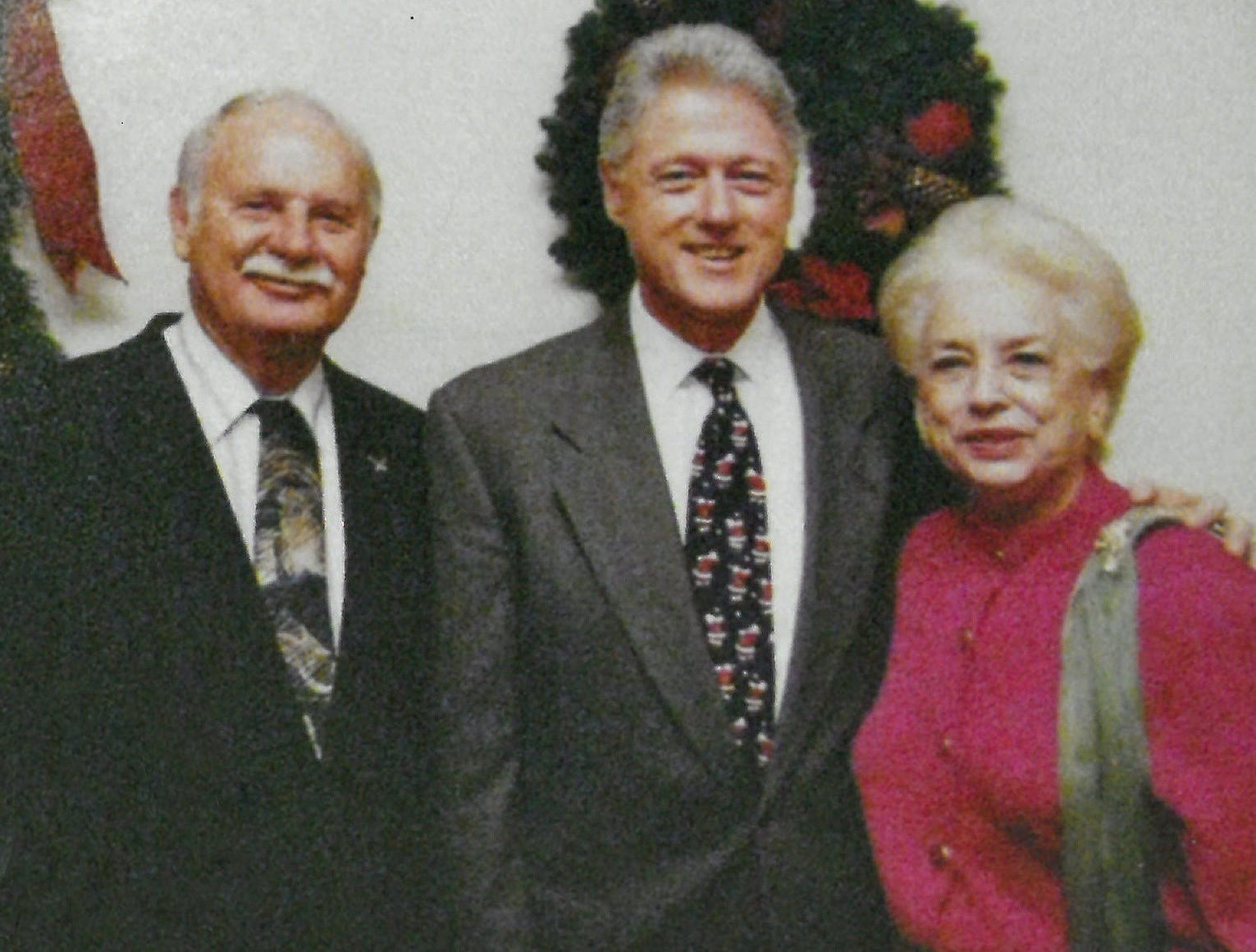 Mary Ellen Withrow, right, as US Treasurer with President Bill Clinton and her husband, Norman.