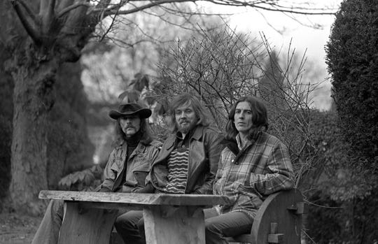 "Don Nix; bass player and artist (he created the cover of the Beatles' ""Revolver"" album) Klaus Voorman; and George Harrison, 1974."