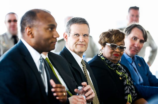 Tennessee Gov. Bill Lee (second left) and local dignitaries announced that JNJ Express will invest $83.6 million to expand its operations to the vacant Delta Square off American Way. JNJ will create 610 new jobs over the next five years, while they establish their new headquarters and operations campus.