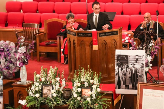 February 26, 2019 - Tarik Sugarmon speaks during a memorial service for his father, the late Judge Russell Sugarmon, at Metropolitan Baptist Church on Tuesday. An attorney, retired judge, former state representative and civil rights champion, Sugarmon, 89, died on Feb. 18 at his home, following a long illness.