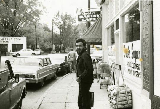 "Domingo ""Sam the Sham"" Samudio, outside Burkle's Bakery in Overton Square, 1966."