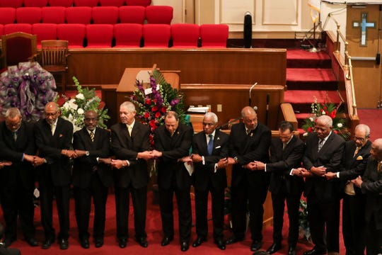 February 26, 2019 - Alpha Phi Alpha Omega during a memorial service for the late Judge Russell Sugarmon at Metropolitan Baptist Church on Tuesday. An attorney, retired judge, former state representative and civil rights champion, Sugarmon, 89, died on Feb. 18 at his home, following a long illness.