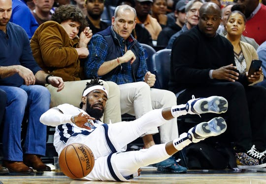 Memphis Grizzlies guard Mike Conley loses the ball our of bounce during action against the Los Angles Lakers at the FedExForum in Memphis, Tenn., Monday, February 25, 2019.