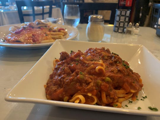 Bolognese served with linguine at Davide, Marco Island.