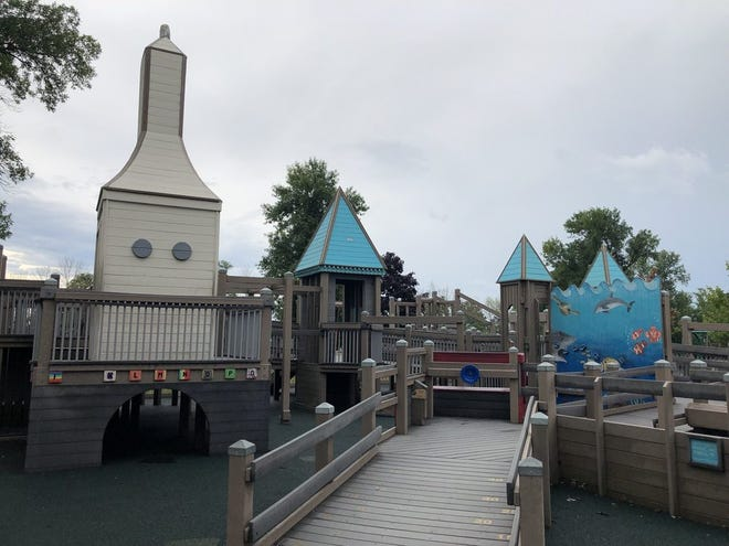 Possibility Playground includes elements that evoke the feeling of Port Washington, such as a lighthouse play structure.