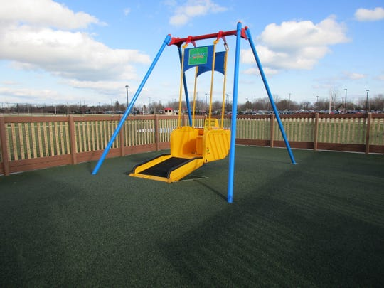 One of the amenities at Kenosha's Dream playground is a liberty swing.