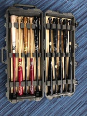 The Brewers' Christian Yelich has a special case from Louisville Slugger to store all his game-ready bats.