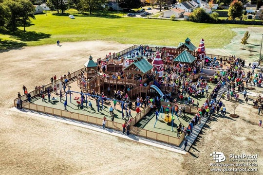 Kids flock to the accessible Dream Playground in Kenosha.