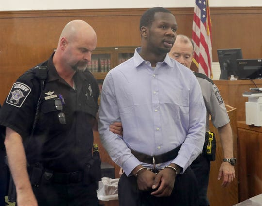 Jonathan Copeland Jr., charged with first-degree intentional homicide in the fatal shooting of Milwaukee Police OfficerMichael J. Michalski, appears in a Milwaukee County courtroom Tuesday. Copeland decided Tuesday to plead guilty. Opening statements in his trial had been scheduled for Tuesday morning.