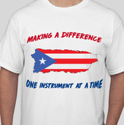 The Wauwatosa West band is selling this T-shirt to raise money for shipping instruments and other accessories to band students in Puerto Rico affected by Hurricane Maria.