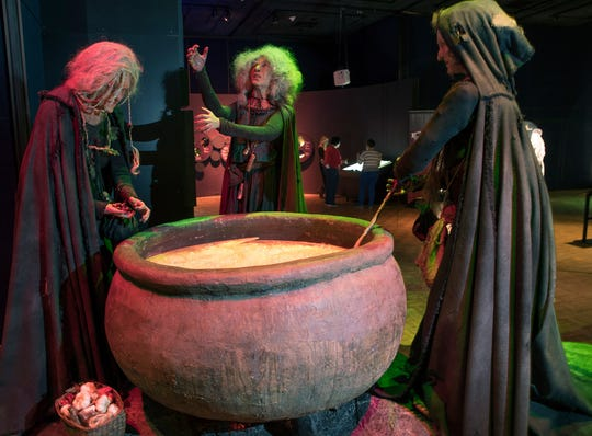 "A scene from ""Macbeth"" where witches create a potion is part of an exhibit called ""The Power of Poison"" at the Milwaukee Public Museum. The limited-engagement exhibit opens to the public on March 2 and runs through July 7."