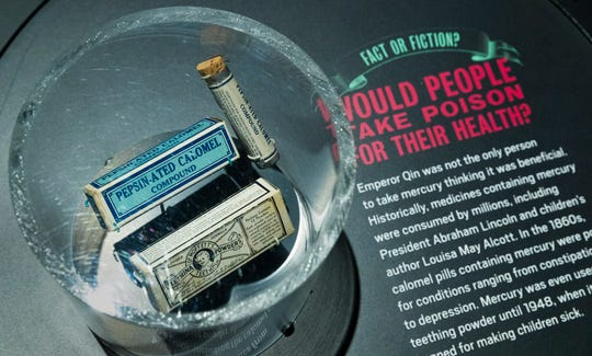 "Examples of products containing mercury are part of a exhibit called ""The Power of Poison"" Tuesday, February 26, 2019 at the Milwaukee Public Museum in Milwaukee, Wis. The limited engagement exhibit opens to the public on March 2 and runs through July 7."