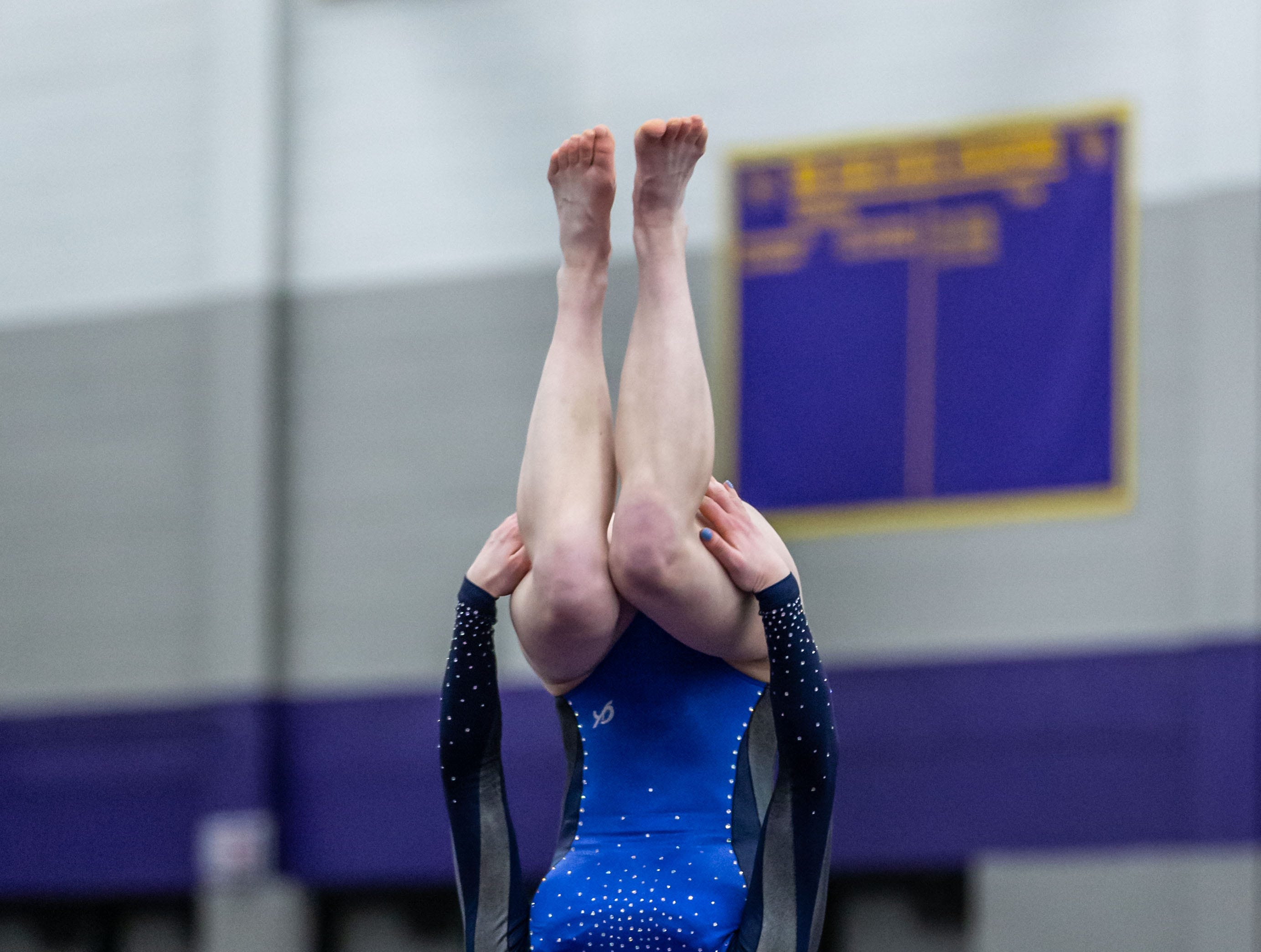 Brookfield co-op gymnast Molly Meves competes on the floor during the Division 1 sectional at Oconomowoc on Friday, Feb. 22, 2019.