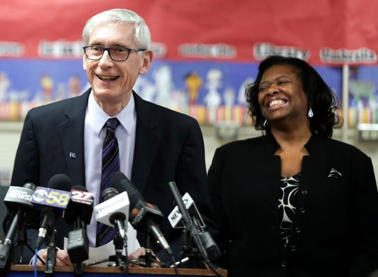 Wisconsin Gov. Tony Evers (left) and State Superintendent Carolyn Stanford Taylor shown during a tour of a Madison school in January.