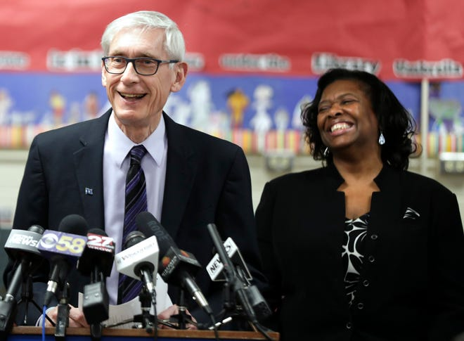 Wisconsin Governor Tony Evers (left) and State Superintendent Carolyn Stanford Taylor shown during a tour of a Madison school in January.