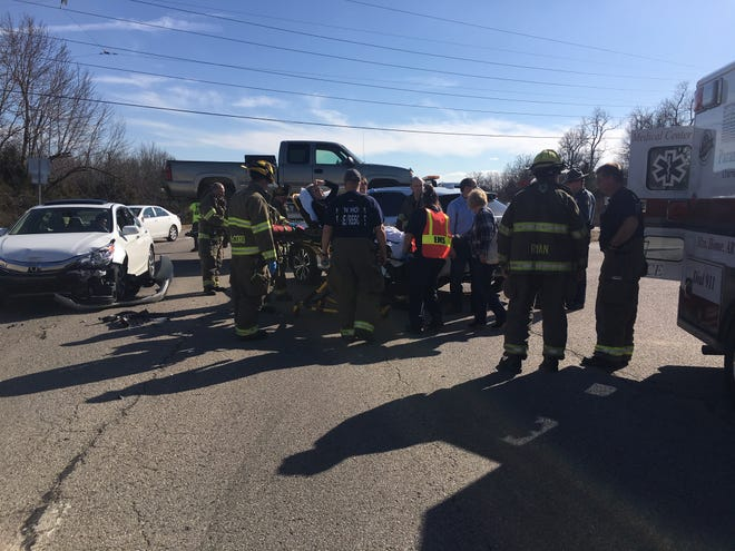Authorities are working a two-vehicle accident at U.S. 62 East Bypass and Buzzard Roost Road. At least two people appear to have been injured. As emergency personnel worked the accident, a second minor accident occurred at the sight. Motorists are urged to use caution in the area.