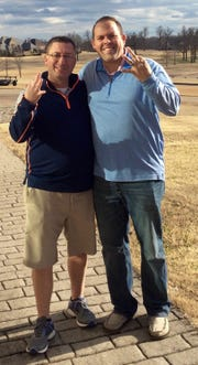 Andy Wescoat (left) and Andrew Gillespie recently won the Big Creek SNowman Open golf tournament for the third straight year.