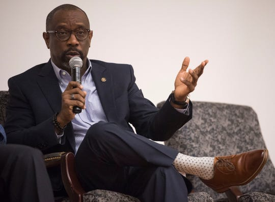State Rep. Kirk Hatcher speaks during a democratic town hall meeting at Alabama State University in Montgomery, Ala., on Monday, Feb. 25, 2019.